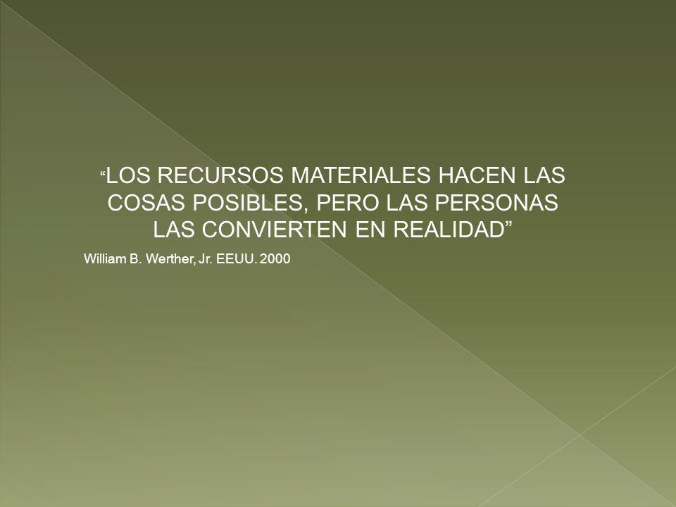 LOS RECURSOS MATERIALES HACEN LAS COSAS POSIBLES, PERO LAS PERSONAS LAS CONVIERTEN EN REALIDAD William B. Werther, Jr. EEUU. 2000