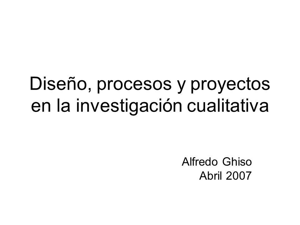 Diseño, procesos y proyectos en la investigación cualitativa Alfredo Ghiso Abril 2007