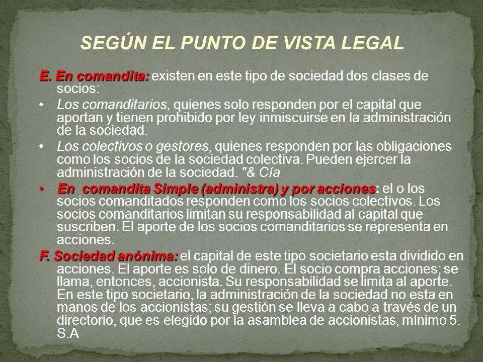 SEGÚN EL PUNTO DE VISTA LEGAL E. En comandita: E. En comandita: existen en este tipo de sociedad dos clases de socios: Los comanditarios, quienes solo