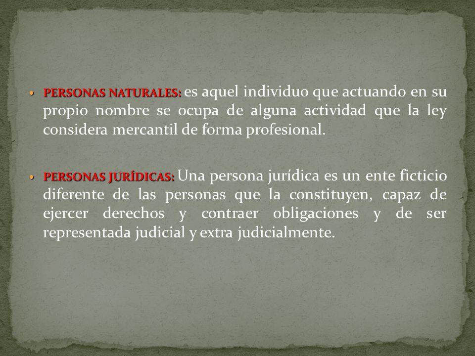 PERSONAS NATURALES: PERSONAS NATURALES: es aquel individuo que actuando en su propio nombre se ocupa de alguna actividad que la ley considera mercanti