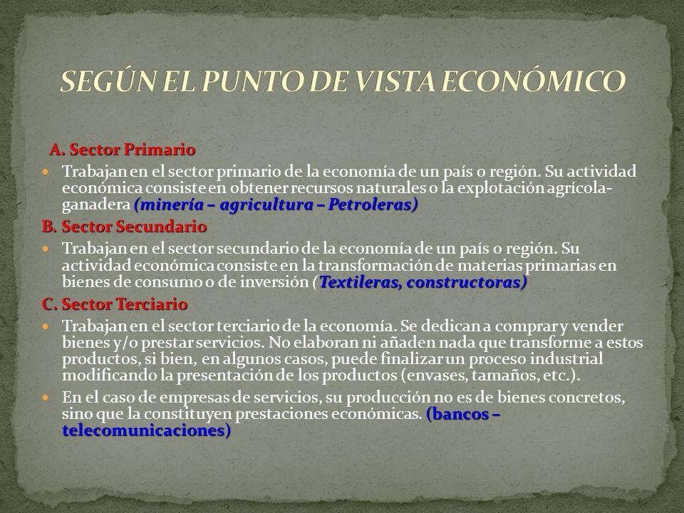 A. Sector Primario A. Sector Primario (minería – agricultura – Petroleras) Trabajan en el sector primario de la economía de un país o región. Su activ