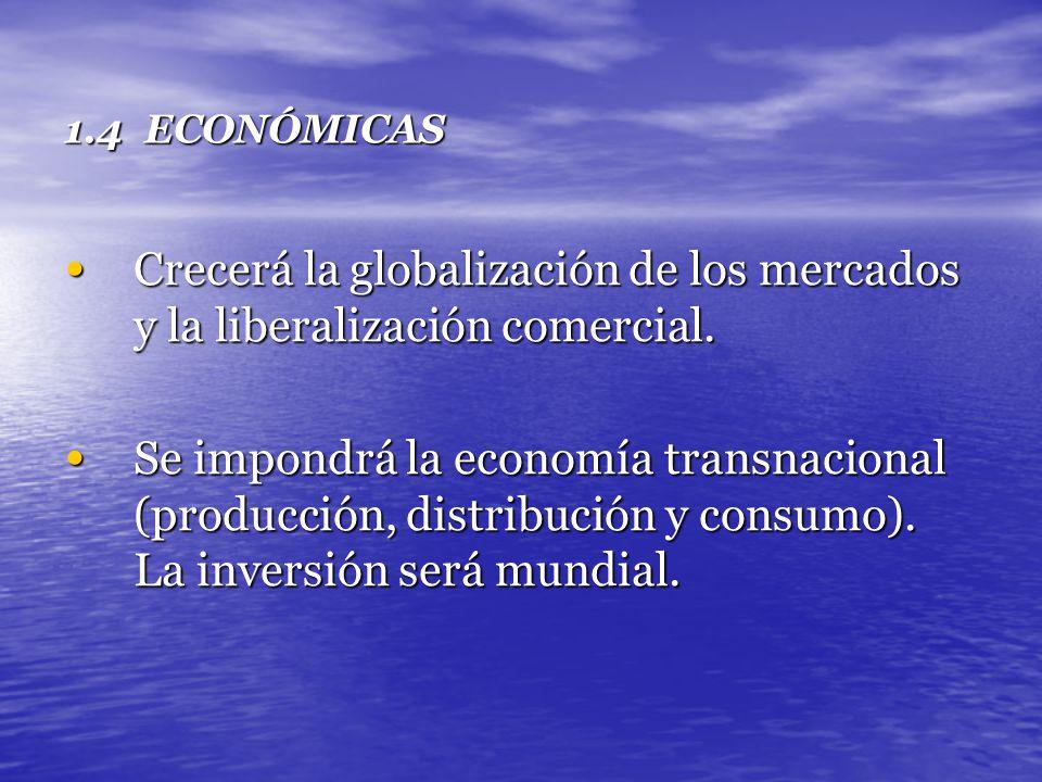 1.4 ECONÓMICAS Crecerá la globalización de los mercados y la liberalización comercial. Crecerá la globalización de los mercados y la liberalización co