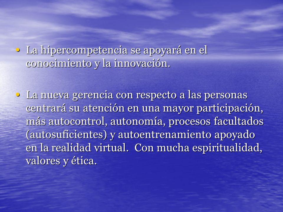 La hipercompetencia se apoyará en el conocimiento y la innovación. La hipercompetencia se apoyará en el conocimiento y la innovación. La nueva gerenci