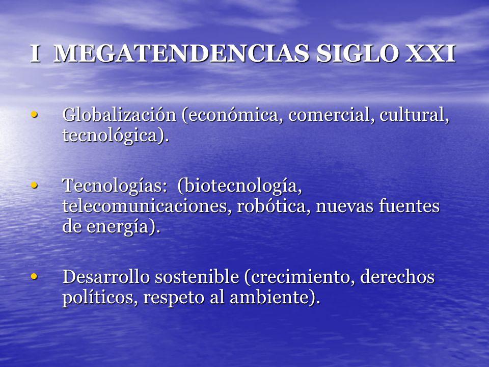 I MEGATENDENCIAS SIGLO XXI Globalización (económica, comercial, cultural, tecnológica). Globalización (económica, comercial, cultural, tecnológica). T
