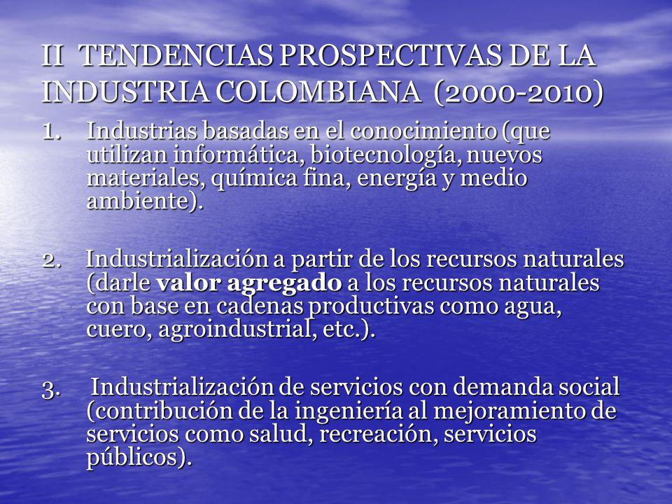 II TENDENCIAS PROSPECTIVAS DE LA INDUSTRIA COLOMBIANA (2000-2010) 1. Industrias basadas en el conocimiento (que utilizan informática, biotecnología, n