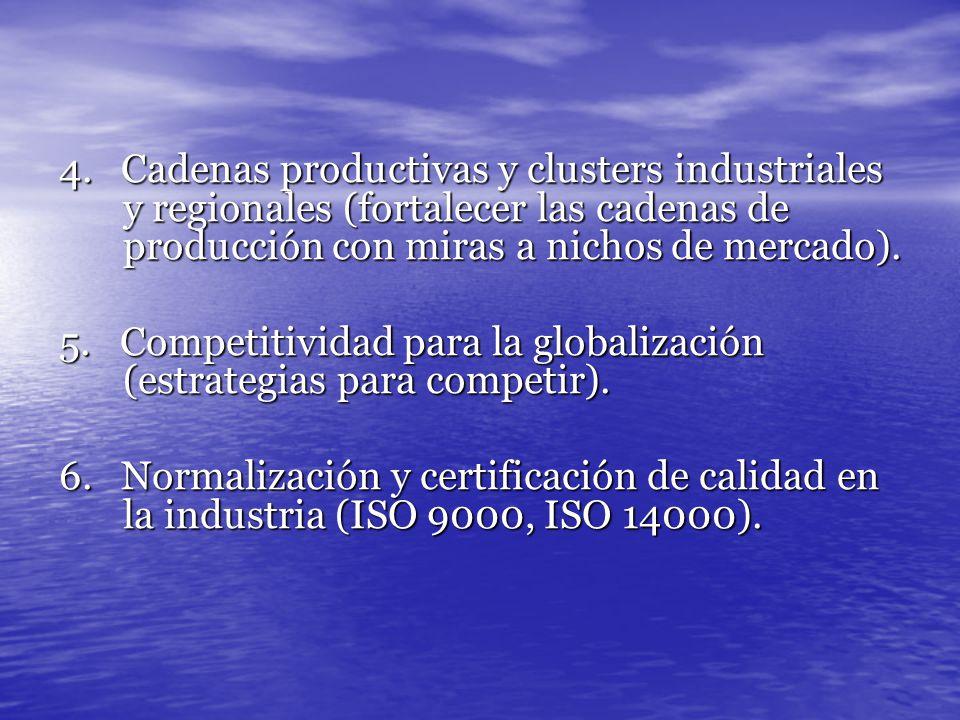 4. Cadenas productivas y clusters industriales y regionales (fortalecer las cadenas de producción con miras a nichos de mercado). 5. Competitividad pa