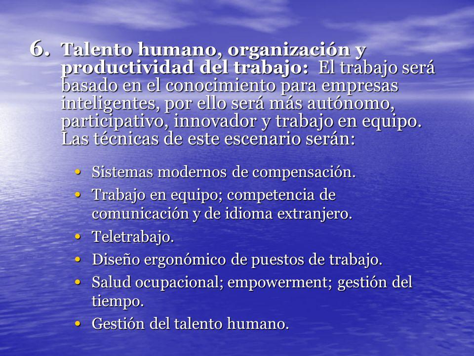 6. Talento humano, organización y productividad del trabajo: El trabajo será basado en el conocimiento para empresas inteligentes, por ello será más a