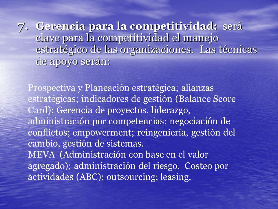 7. Gerencia para la competitividad: será clave para la competitividad el manejo estratégico de las organizaciones. Las técnicas de apoyo serán: Prospe