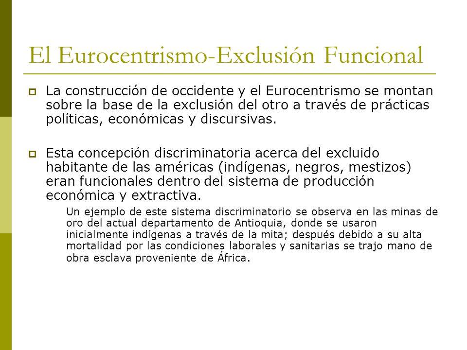 El Eurocentrismo-Exclusión Funcional La construcción de occidente y el Eurocentrismo se montan sobre la base de la exclusión del otro a través de prácticas políticas, económicas y discursivas.