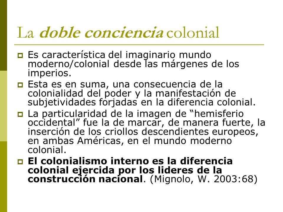La doble conciencia colonial Es característica del imaginario mundo moderno/colonial desde las márgenes de los imperios. Esta es en suma, una consecue