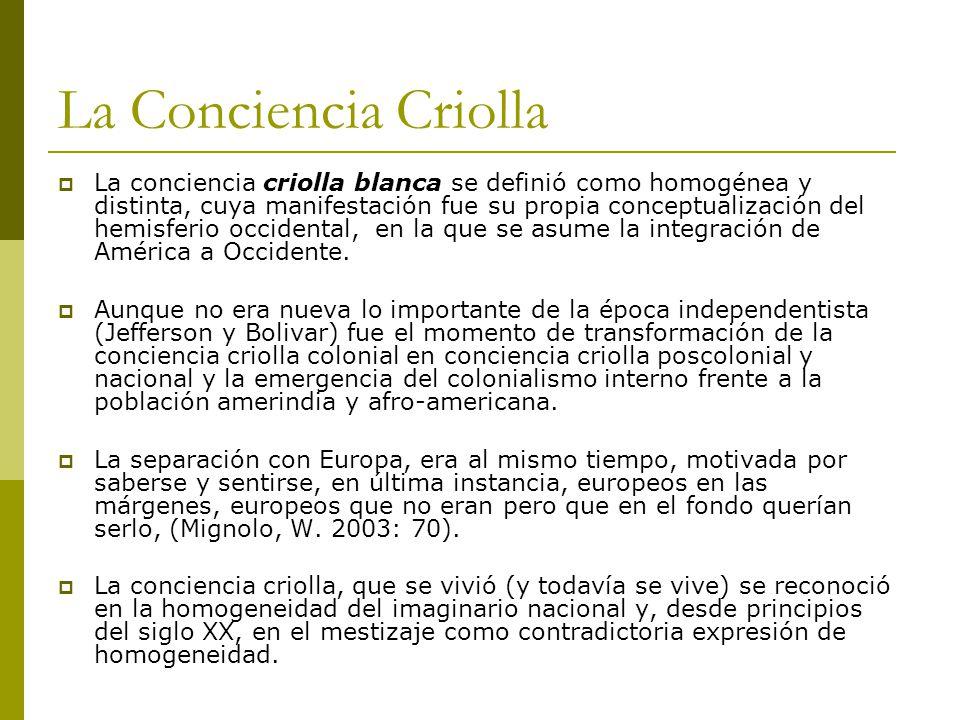 La Conciencia Criolla La conciencia criolla blanca se definió como homogénea y distinta, cuya manifestación fue su propia conceptualización del hemisferio occidental, en la que se asume la integración de América a Occidente.