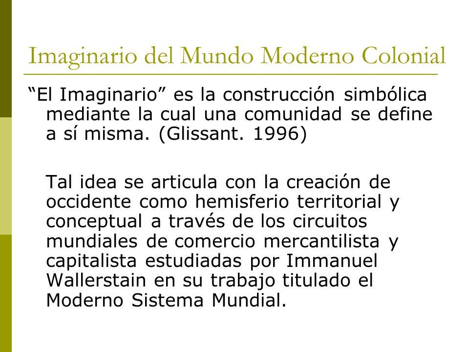 Imaginario del Mundo Moderno Colonial El Imaginario es la construcción simbólica mediante la cual una comunidad se define a sí misma. (Glissant. 1996)
