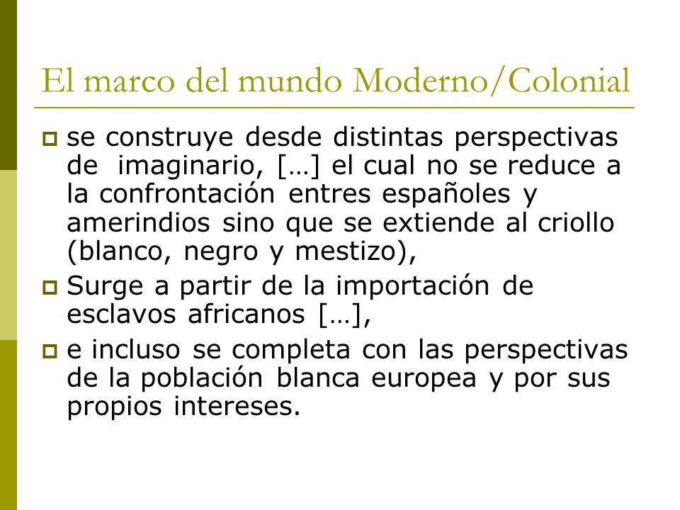 El marco del mundo Moderno/Colonial se construye desde distintas perspectivas de imaginario, […] el cual no se reduce a la confrontación entres españoles y amerindios sino que se extiende al criollo (blanco, negro y mestizo), Surge a partir de la importación de esclavos africanos […], e incluso se completa con las perspectivas de la población blanca europea y por sus propios intereses.