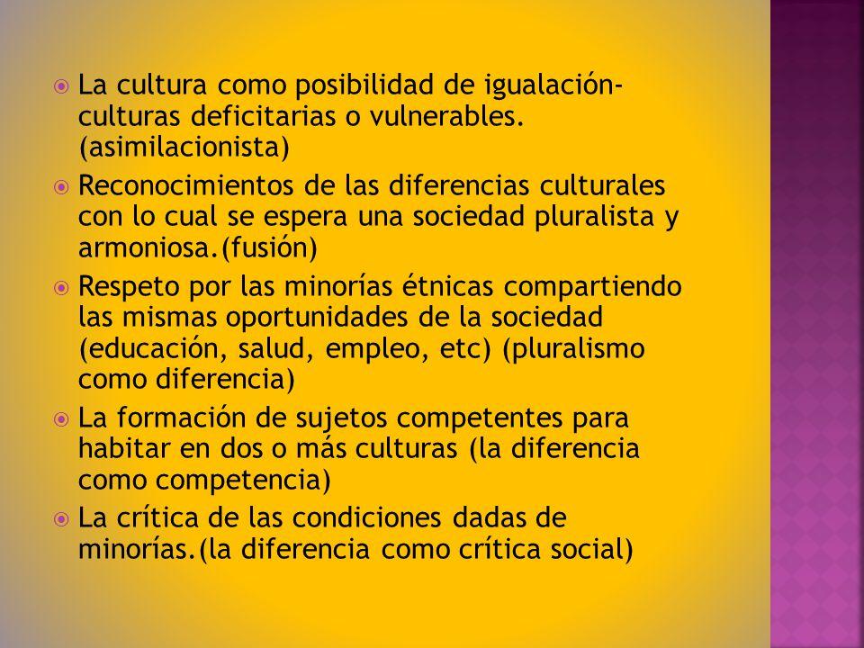 La cultura como posibilidad de igualación- culturas deficitarias o vulnerables. (asimilacionista) Reconocimientos de las diferencias culturales con lo