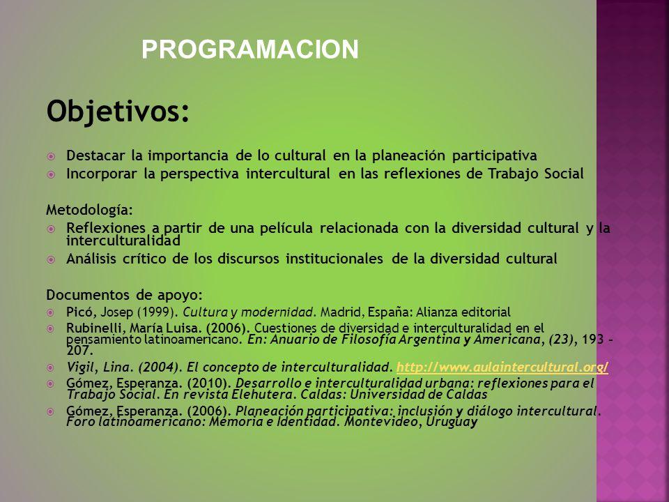 Objetivos: Destacar la importancia de lo cultural en la planeación participativa Incorporar la perspectiva intercultural en las reflexiones de Trabajo
