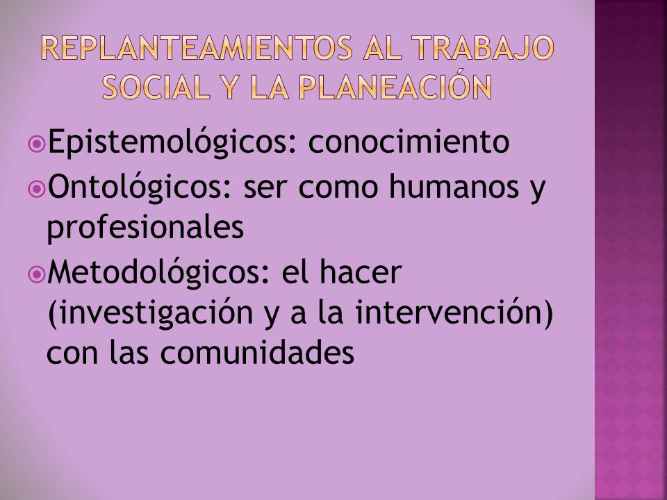 Epistemológicos: conocimiento Ontológicos: ser como humanos y profesionales Metodológicos: el hacer (investigación y a la intervención) con las comuni