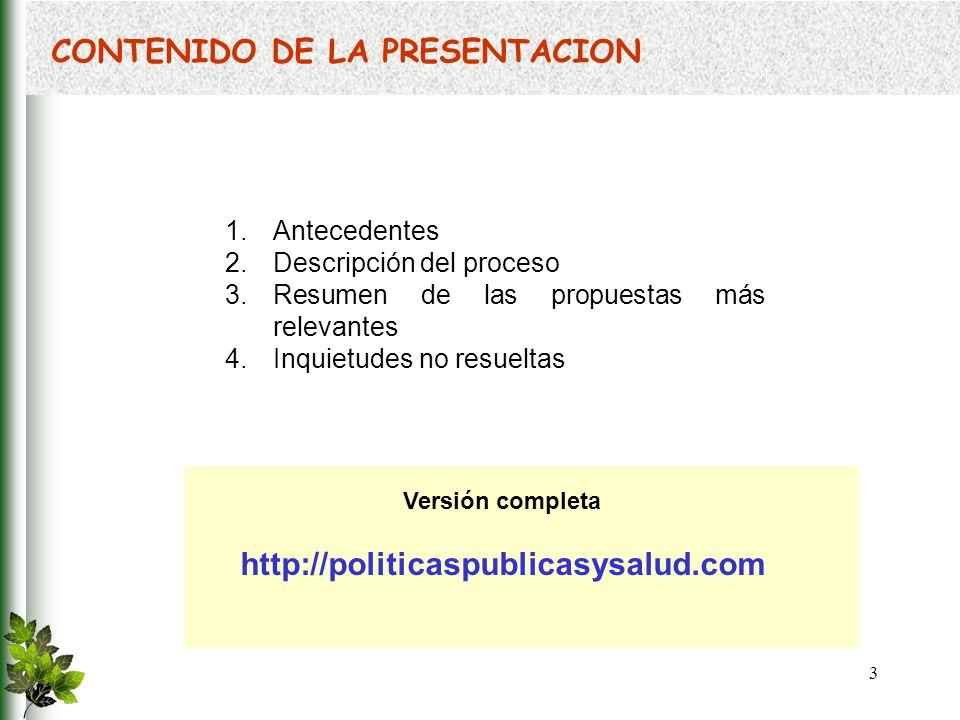 54 En qué va la propuesta: Organización de la protección de la salud pública 1.