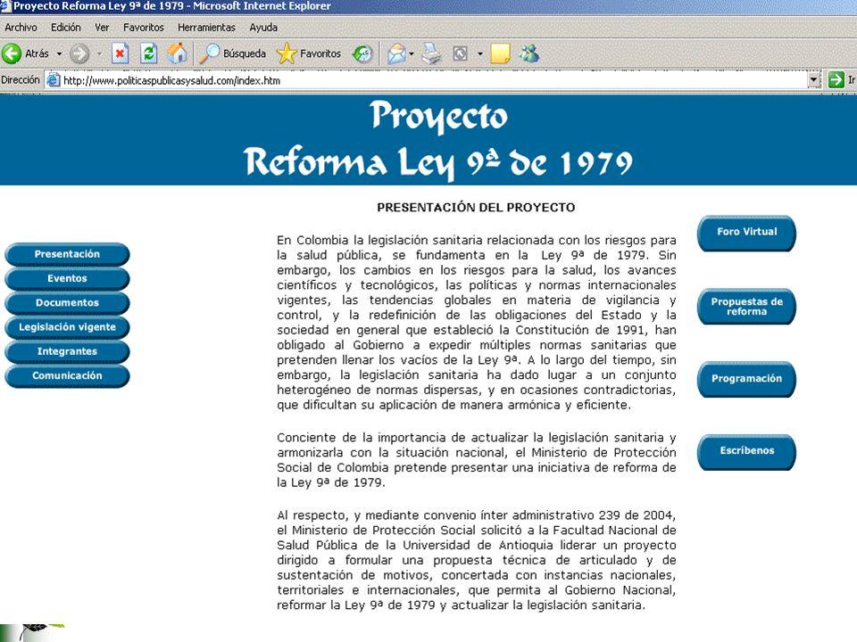 65 VALOR AGREGADO DEL PROYECTO SÍNTESIS Ley 9ª de 1979: 607 artículos Proyecto de reforma: 200 artículos ACTUALIZACIÓN A la Constitución A la situación administrativa del país A los avances tecnológicos A los nuevos riesgos FORTALECIMIENTO DE LA AUTORIDAD SANITARIA INTEGRACIÓN FUNCIONAL INTEGRACIÓN DE LA PROTECCIÓN DE LA SALUD PÚBLICA A LOS PLANES DE DESARROLLO
