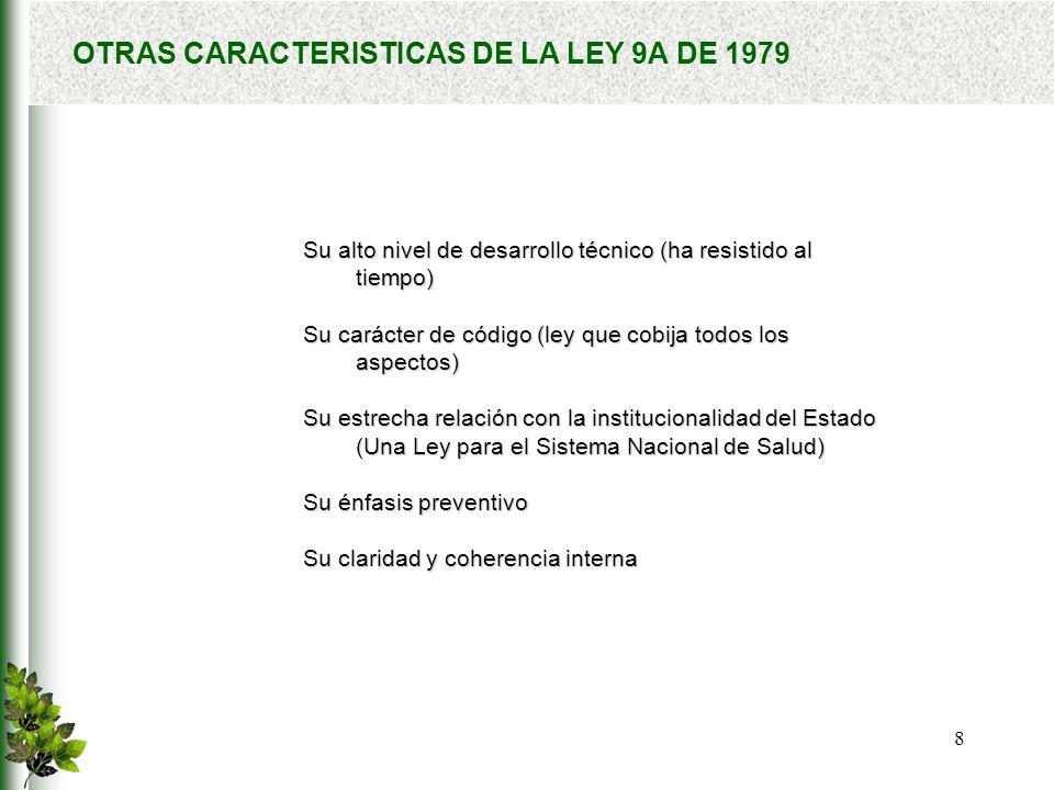 9 LEY 9A DE 1979: ALGUNOS EJEMPLOS Art.594:La salud es un bien de interés público Art.