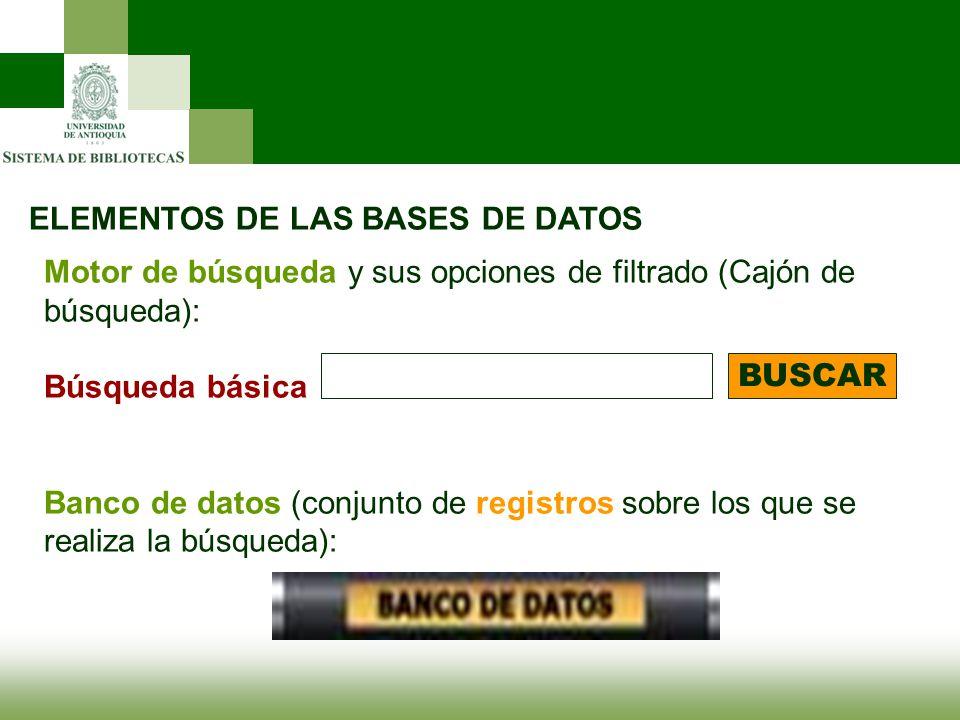 ELEMENTOS DE LAS BASES DE DATOS Motor de búsqueda y sus opciones de filtrado (Cajón de búsqueda): Búsqueda básica Banco de datos (conjunto de registro