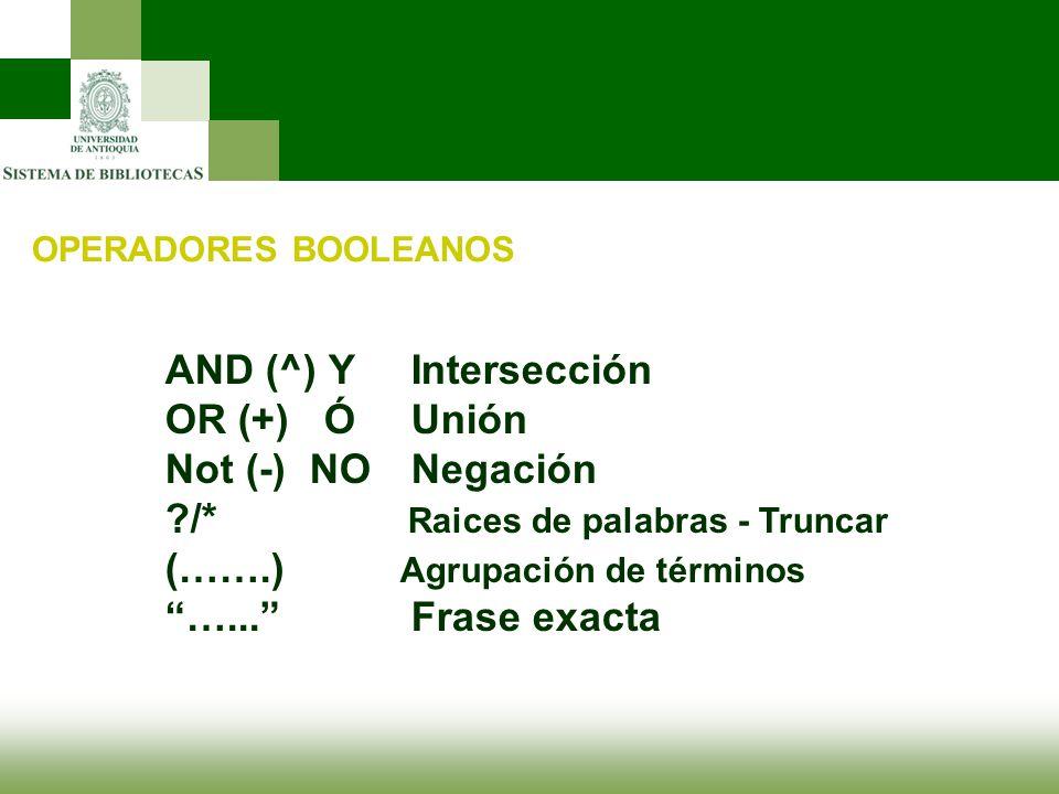 OPERADORES BOOLEANOS AND (^) Y Intersección OR (+) Ó Unión Not (-) NO Negación ?/* Raices de palabras - Truncar (…….) Agrupación de términos …... Fras