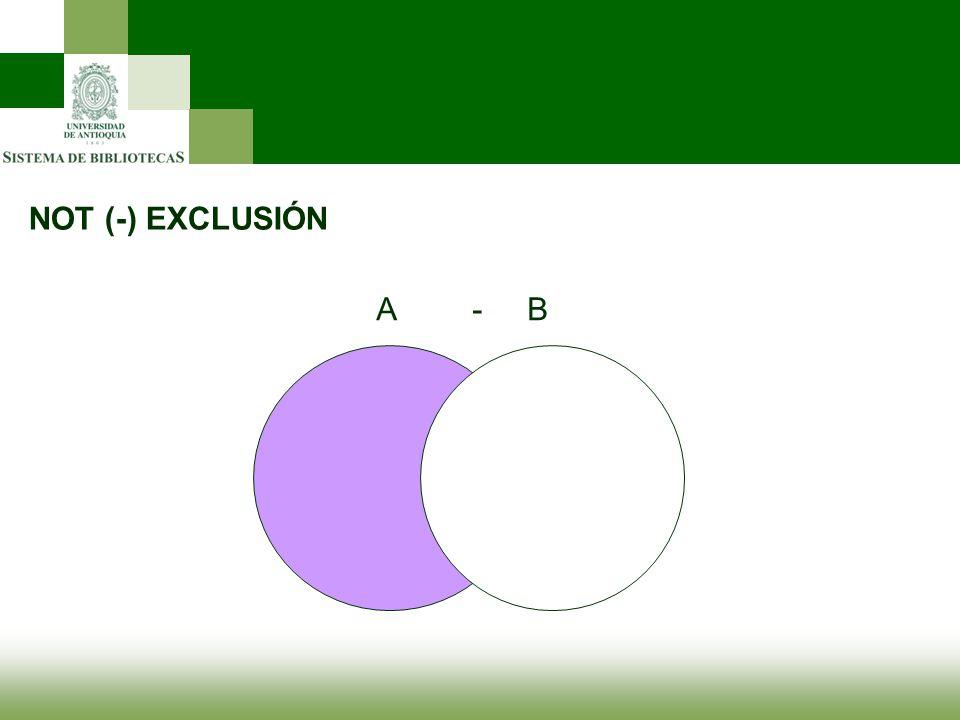 NOT (-) EXCLUSIÓN A- B