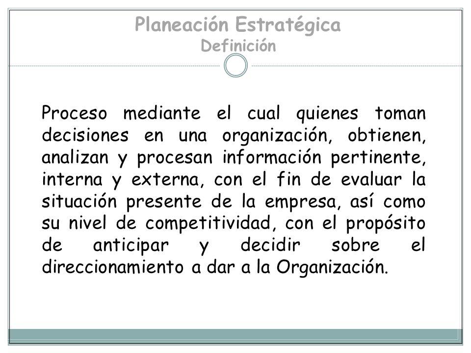 PLANEACION ESTRATEGICA Proceso que permite a los integrantes de una organización tomar decisiones sobre el futuro, es decir, su Misión, sus Programas,