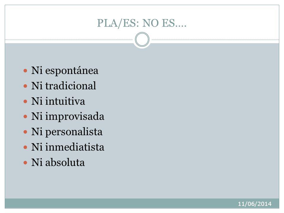 11/06/2014 PLA/ES: NO ES….