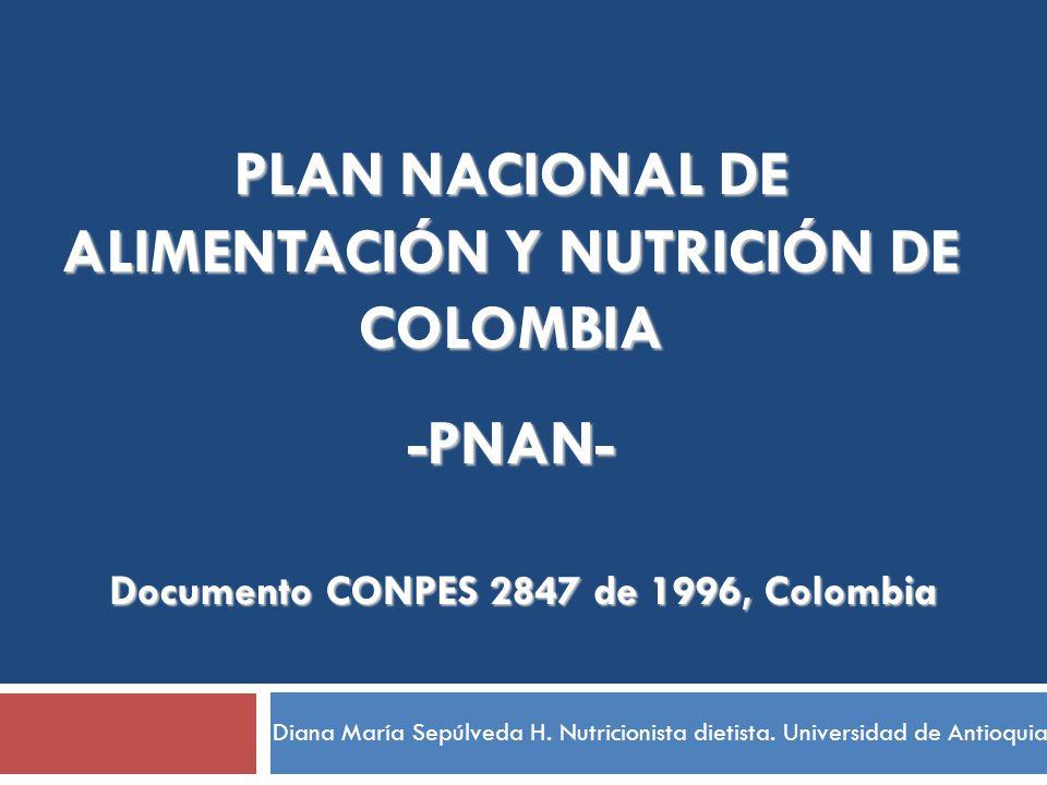 PLAN NACIONAL DE ALIMENTACIÓN Y NUTRICIÓN DE COLOMBIA -PNAN- Documento CONPES 2847 de 1996, Colombia Diana María Sepúlveda H. Nutricionista dietista.