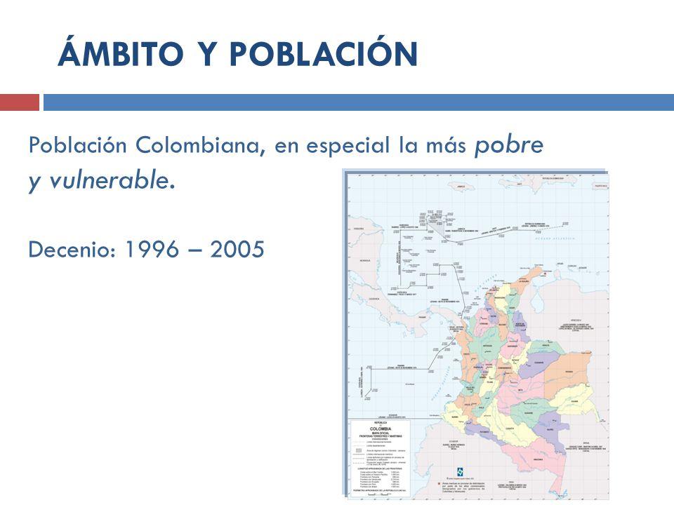 Población Colombiana, en especial la más pobre y vulnerable. Decenio: 1996 – 2005 ÁMBITO Y POBLACIÓN
