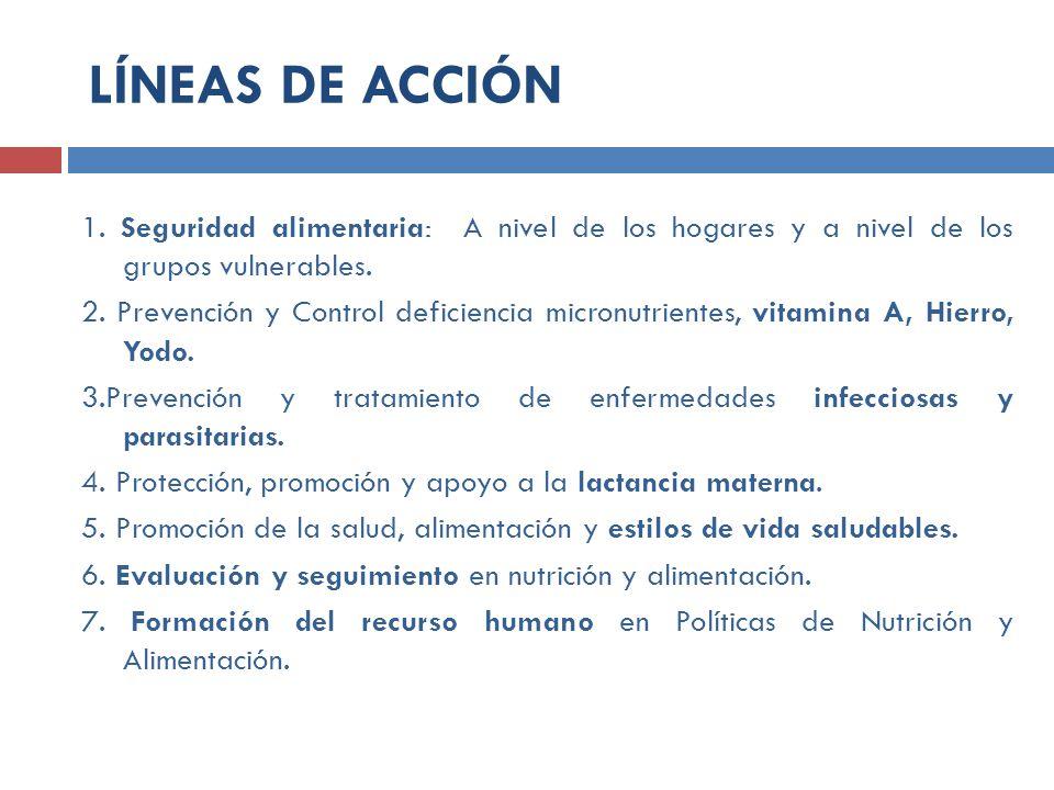 1. Seguridad alimentaria: A nivel de los hogares y a nivel de los grupos vulnerables. 2. Prevención y Control deficiencia micronutrientes, vitamina A,