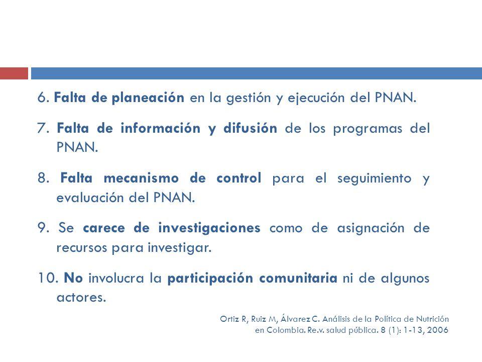 6. Falta de planeación en la gestión y ejecución del PNAN. 7. Falta de información y difusión de los programas del PNAN. 8. Falta mecanismo de control
