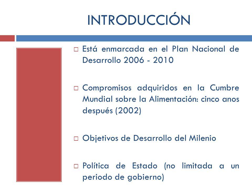 INTRODUCCIÓN Está enmarcada en el Plan Nacional de Desarrollo 2006 - 2010 Compromisos adquiridos en la Cumbre Mundial sobre la Alimentación: cinco ano