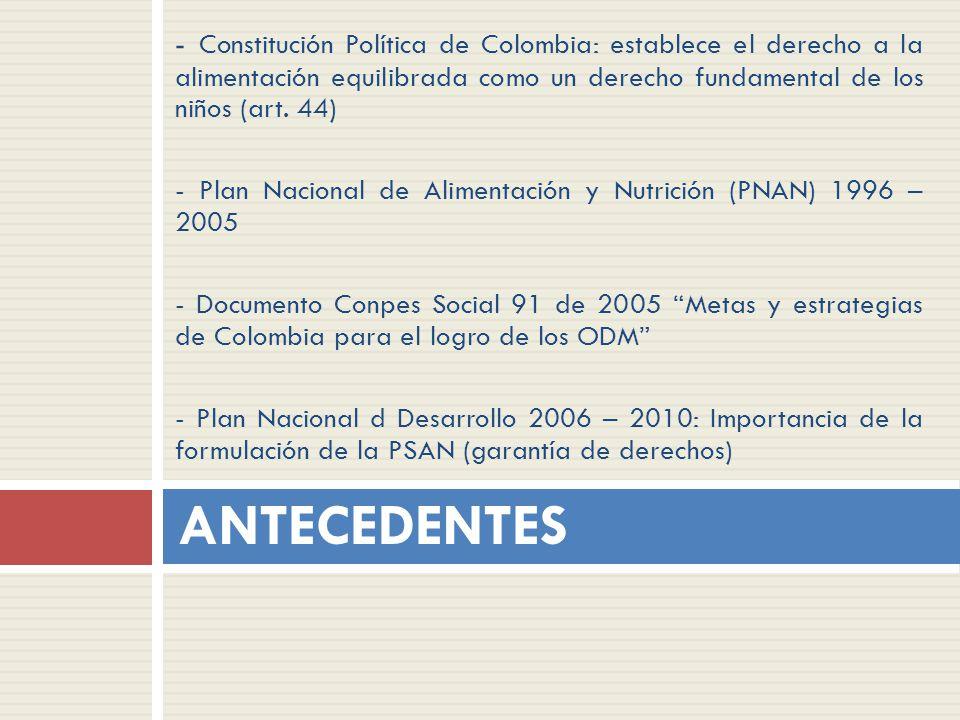 - Constitución Política de Colombia: establece el derecho a la alimentación equilibrada como un derecho fundamental de los niños (art. 44) - Plan Naci