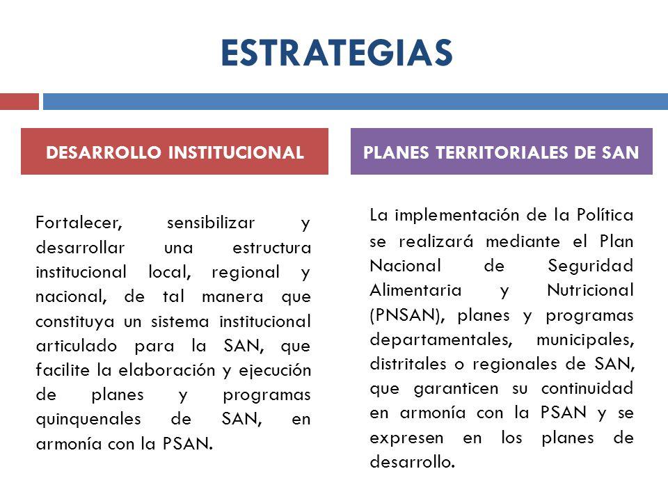 ESTRATEGIAS Fortalecer, sensibilizar y desarrollar una estructura institucional local, regional y nacional, de tal manera que constituya un sistema in