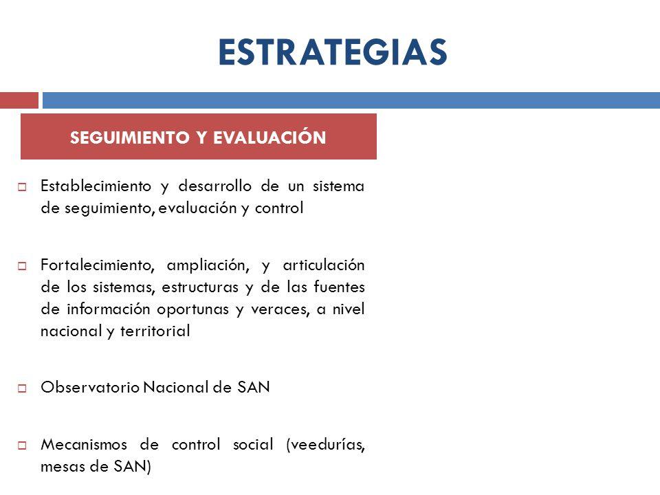 ESTRATEGIAS Establecimiento y desarrollo de un sistema de seguimiento, evaluación y control Fortalecimiento, ampliación, y articulación de los sistema