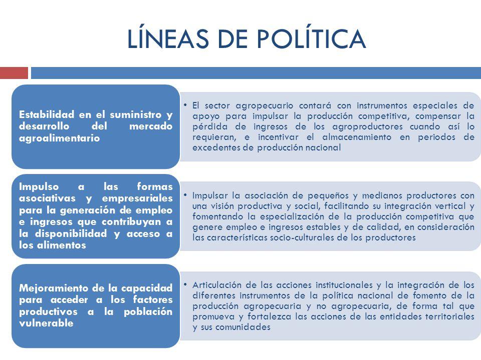 LÍNEAS DE POLÍTICA El sector agropecuario contará con instrumentos especiales de apoyo para impulsar la producción competitiva, compensar la pérdida d