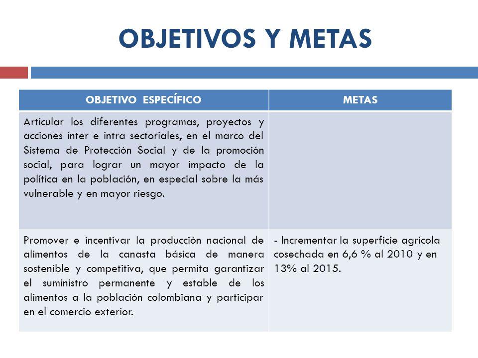 OBJETIVOS Y METAS OBJETIVO ESPECÍFICOMETAS Articular los diferentes programas, proyectos y acciones inter e intra sectoriales, en el marco del Sistema