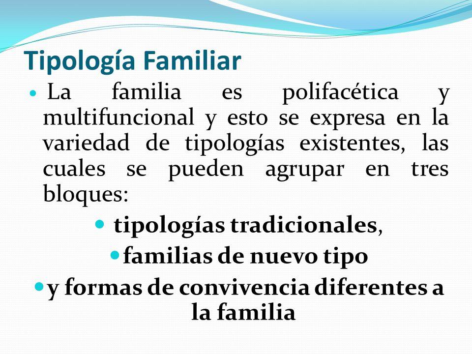 Tipología Familiar La familia es polifacética y multifuncional y esto se expresa en la variedad de tipologías existentes, las cuales se pueden agrupar