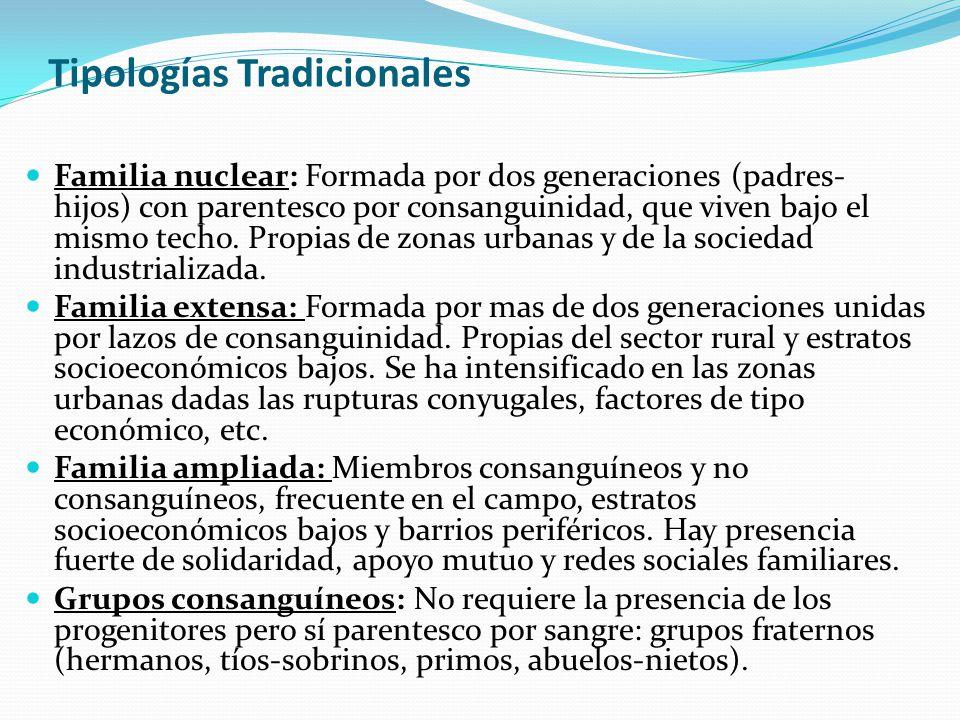 Tipologías Tradicionales Familia nuclear: Formada por dos generaciones (padres- hijos) con parentesco por consanguinidad, que viven bajo el mismo tech