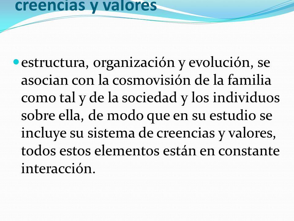 Cosmovisión familiar o marco de creencias y valores estructura, organización y evolución, se asocian con la cosmovisión de la familia como tal y de la
