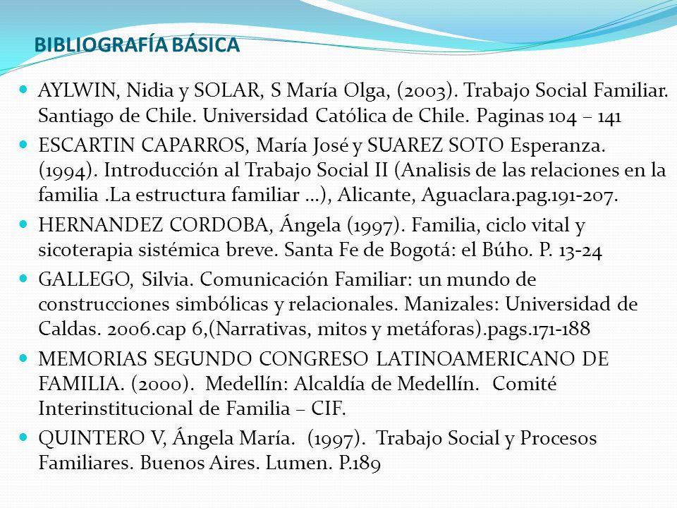 BIBLIOGRAFÍA BÁSICA AYLWIN, Nidia y SOLAR, S María Olga, (2003). Trabajo Social Familiar. Santiago de Chile. Universidad Católica de Chile. Paginas 10