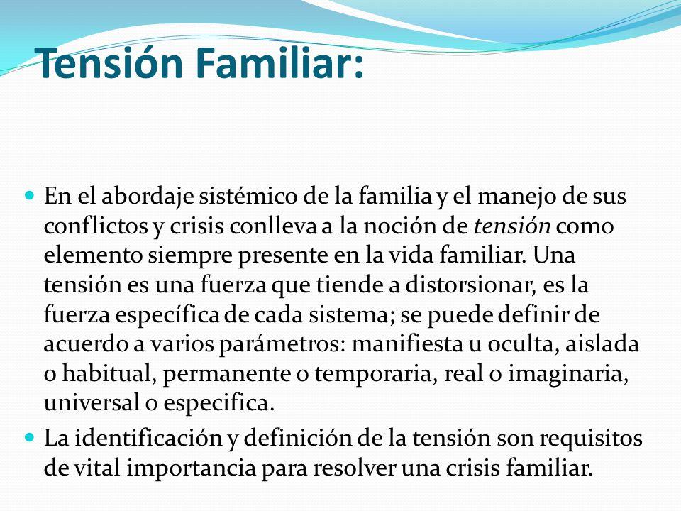 Tensión Familiar: En el abordaje sistémico de la familia y el manejo de sus conflictos y crisis conlleva a la noción de tensión como elemento siempre