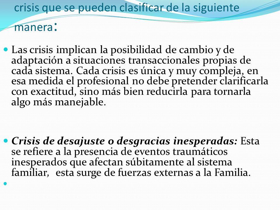 crisis que se pueden clasificar de la siguiente manera : Las crisis implican la posibilidad de cambio y de adaptación a situaciones transaccionales pr