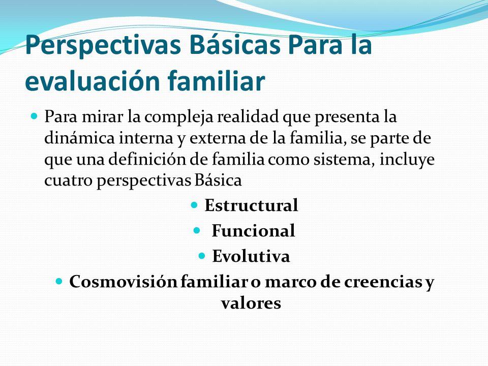Perspectivas Básicas Para la evaluación familiar Para mirar la compleja realidad que presenta la dinámica interna y externa de la familia, se parte de