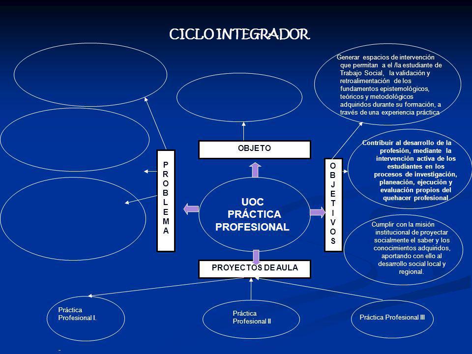 UOC PRÁCTICA PROFESIONAL PROBLEMAPROBLEMA OBJETO OBJETIVOSOBJETIVOS Generar espacios de intervención que permitan a el /la estudiante de Trabajo Social, la validación y retroalimentación de los fundamentos epistemológicos, teóricos y metodológicos adquiridos durante su formación, a través de una experiencia práctica Contribuir al desarrollo de la profesión, mediante la intervención activa de los estudiantes en los procesos de investigación, planeación, ejecución y evaluación propios del quehacer profesional PROYECTOS DE AULA CICLO INTEGRADOR Cumplir con la misión institucional de proyectar socialmente el saber y los conocimientos adquiridos, aportando con ello al desarrollo social local y regional.