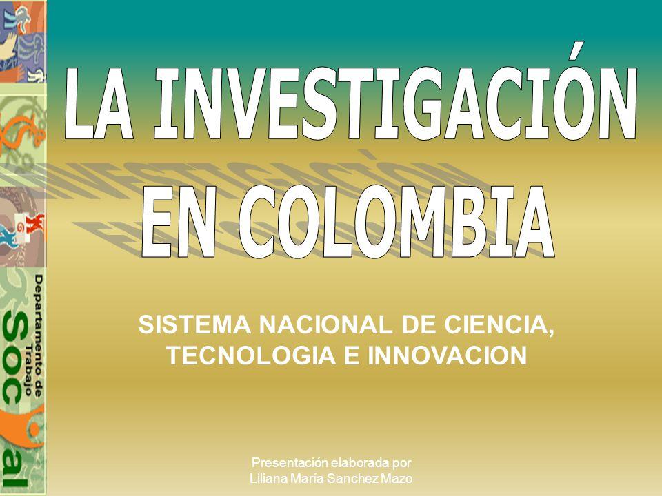 Presentación elaborada por Liliana María Sanchez Mazo SISTEMA NACIONAL DE CIENCIA, TECNOLOGIA E INNOVACION