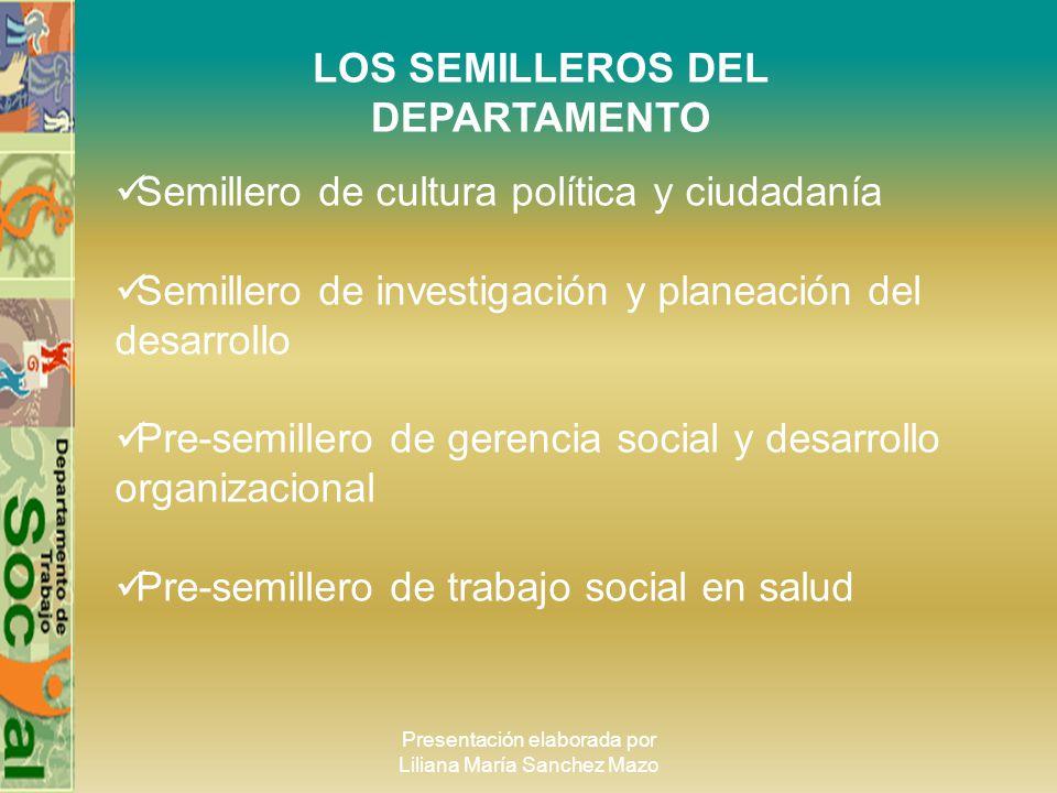 Presentación elaborada por Liliana María Sanchez Mazo LOS SEMILLEROS DEL DEPARTAMENTO Semillero de cultura política y ciudadanía Semillero de investig