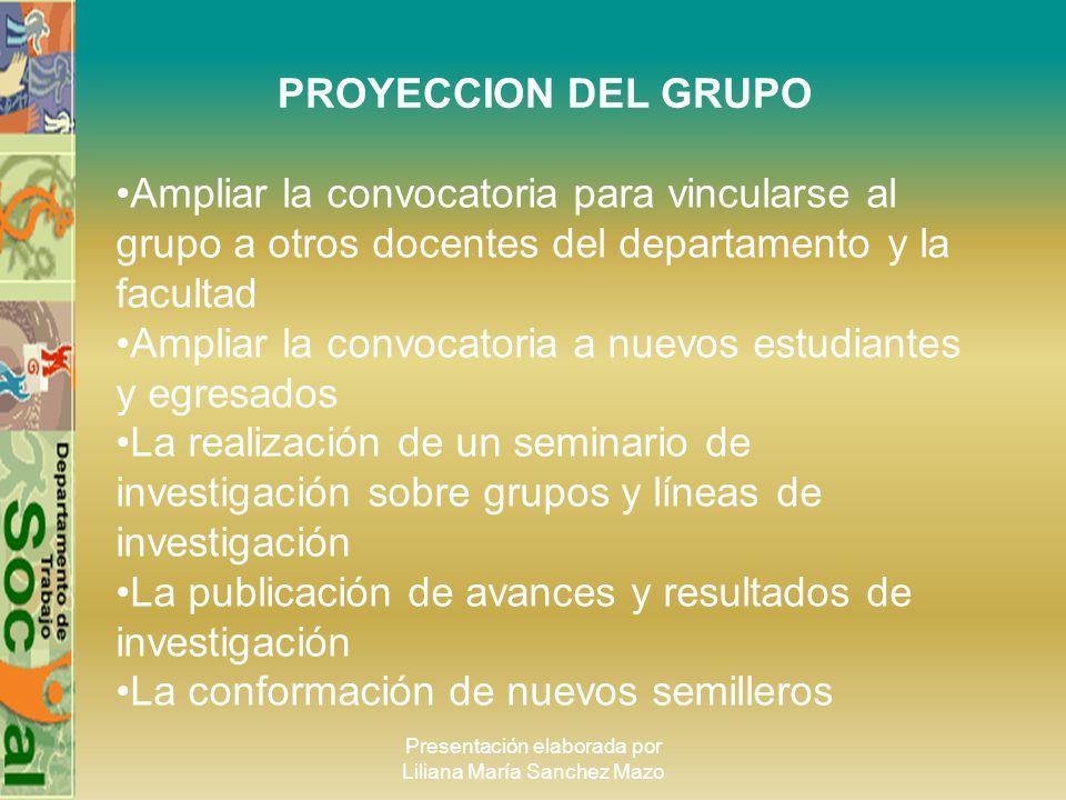 Presentación elaborada por Liliana María Sanchez Mazo PROYECCION DEL GRUPO Ampliar la convocatoria para vincularse al grupo a otros docentes del depar