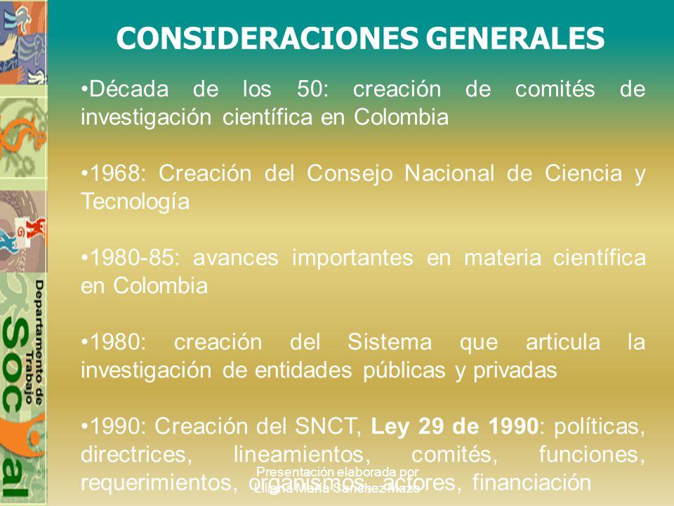 Presentación elaborada por Liliana María Sanchez Mazo CONSIDERACIONES GENERALES Década de los 50: creación de comités de investigación científica en C